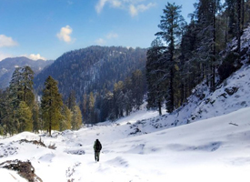 A man walking on deoban trek train during winters