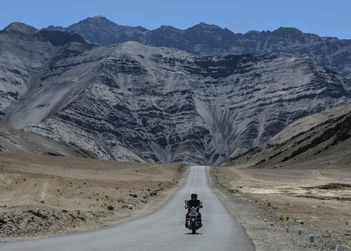 A Biker Riding on Leh Ladakh Highway