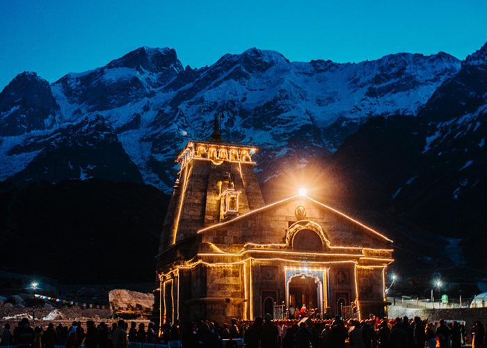 Kedarnath Temple at night
